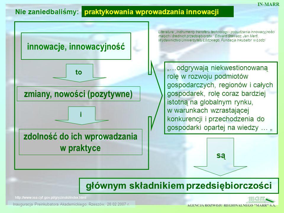innowacje, innowacyjność http://www.iea.cyf.gov.pl/gryzinski/index.html zmiany, nowości (pozytywne) to i zdolność do ich wprowadzania w praktyce …odgr