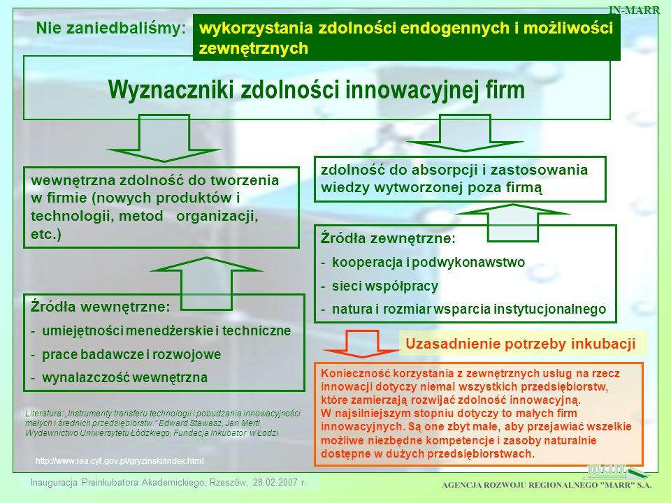 http://www.iea.cyf.gov.pl/gryzinski/index.html Wyznaczniki zdolności innowacyjnej firm wewnętrzna zdolność do tworzenia w firmie (nowych produktów i t