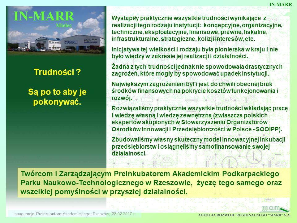 IN-MARR Mielec IN-MARR Inauguracja Preinkubatora Akademickiego, Rzeszów, 28.02.2007 r. Trudności ? Są po to aby je pokonywać. Wystąpiły praktycznie ws