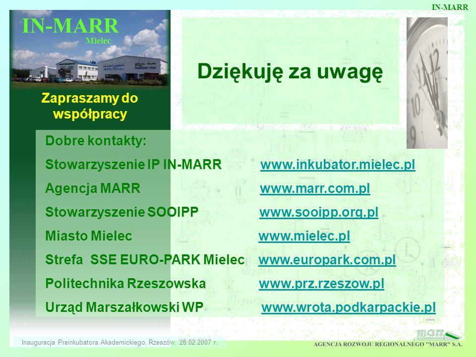 IN-MARR Mielec Dziękuję za uwagę Zapraszamy do współpracy Dobre kontakty: Stowarzyszenie IP IN-MARR www.inkubator.mielec.plwww.inkubator.mielec.pl Age