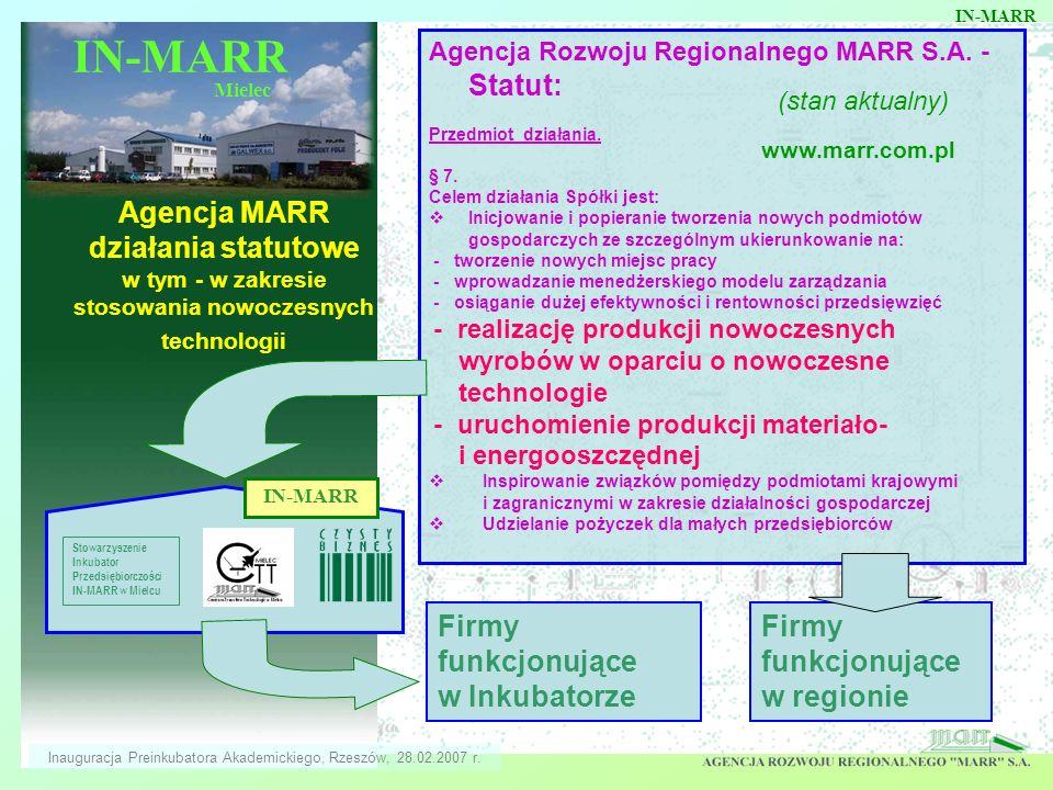 Mielec Agencja MARR działania statutowe w tym - w zakresie stosowania nowoczesnych technologii Agencja Rozwoju Regionalnego MARR S.A. - Statut: Przedm