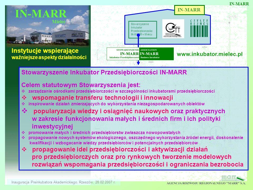 IN-MARR Mielec Instytucje wspierające ważniejsze aspekty działalności IN-MARR Stowarzyszenie Inkubator Przedsiębiorczości IN-MARR w Mielcu Stowarzysze