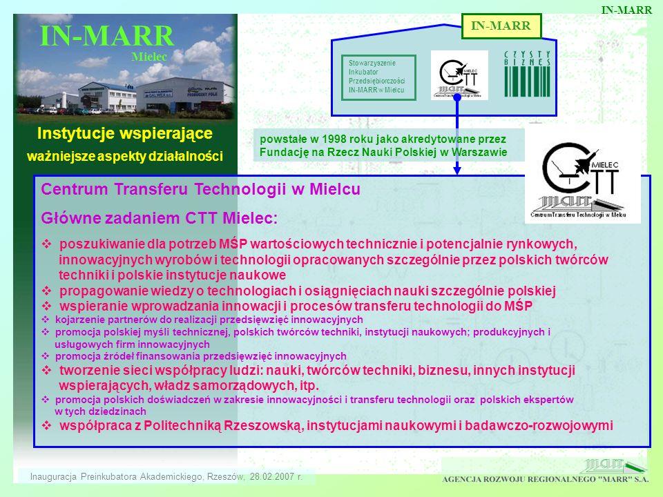 IN-MARR Mielec Instytucje wspierające ważniejsze aspekty działalności IN-MARR Stowarzyszenie Inkubator Przedsiębiorczości IN-MARR w Mielcu Centrum Tra