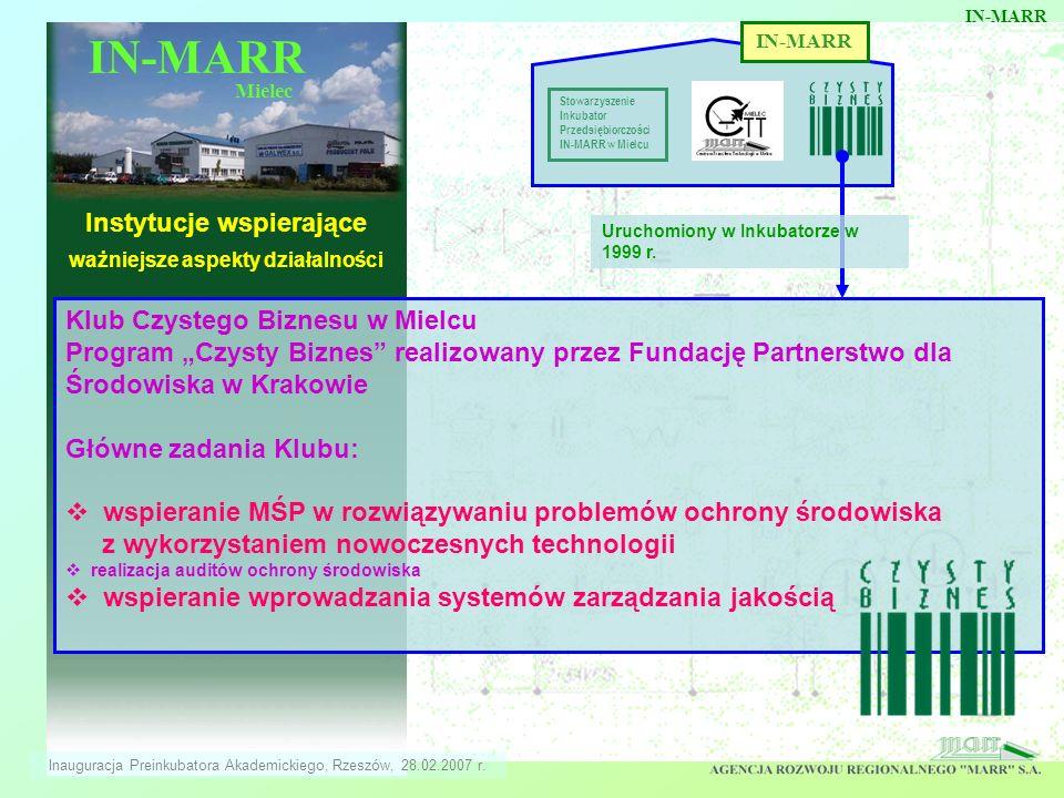 IN-MARR Mielec Instytucje wspierające ważniejsze aspekty działalności IN-MARR Stowarzyszenie Inkubator Przedsiębiorczości IN-MARR w Mielcu Klub Czyste