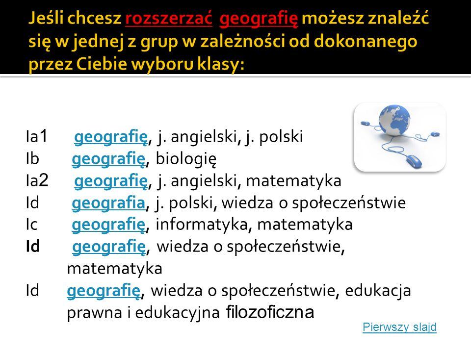 Klasa Ia 1 j.polski, j. angielski, biologiaj. polski Klasa Ia 1 j.