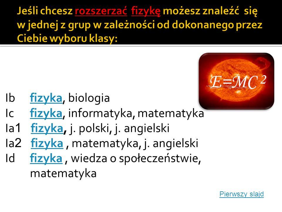 Ib chemia, biologia chemia Ic chemia, informatyka, matematyka chemia Ia 1 chemia, j.polski, j.