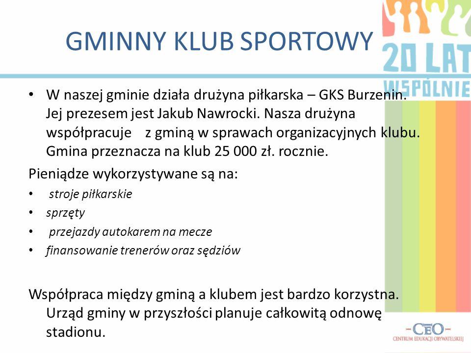 GMINNY KLUB SPORTOWY W naszej gminie działa drużyna piłkarska – GKS Burzenin.