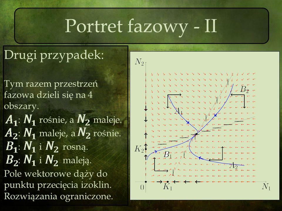 Portret fazowy - II Drugi przypadek: Tym razem przestrzeń fazowa dzieli się na 4 obszary. : rośnie, a maleje. : maleje, a rośnie. : i rosną. : i malej