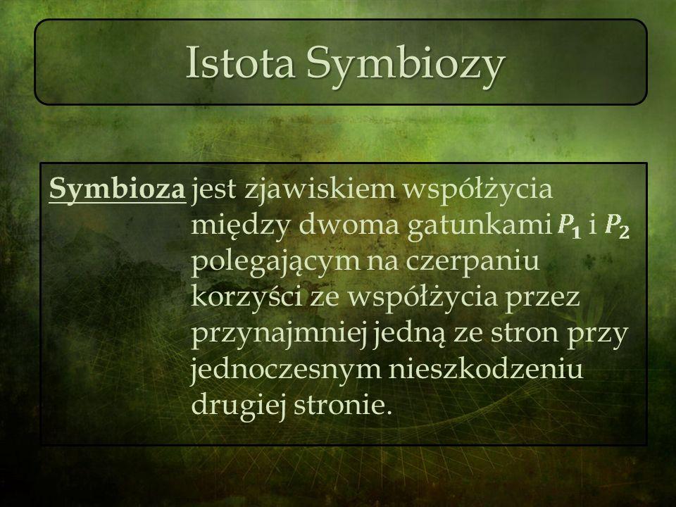 Istota Symbiozy Symbioza jest zjawiskiem współżycia między dwoma gatunkami i polegającym na czerpaniu korzyści ze współżycia przez przynajmniej jedną