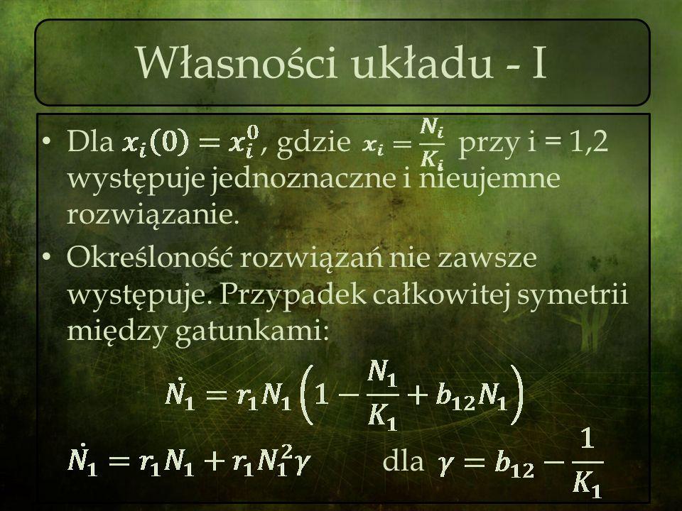 Własności układu - I Dla, gdzie przy i = 1,2 występuje jednoznaczne i nieujemne rozwiązanie. Określoność rozwiązań nie zawsze występuje. Przypadek cał
