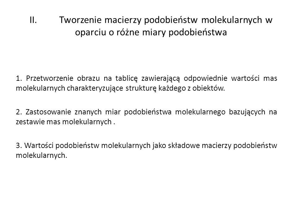 II. Tworzenie macierzy podobieństw molekularnych w oparciu o różne miary podobieństwa 1. Przetworzenie obrazu na tablicę zawierającą odpowiednie warto