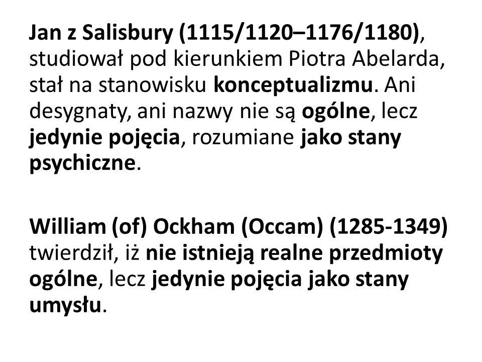 Jan z Salisbury (1115/1120–1176/1180), studiował pod kierunkiem Piotra Abelarda, stał na stanowisku konceptualizmu. Ani desygnaty, ani nazwy nie są og