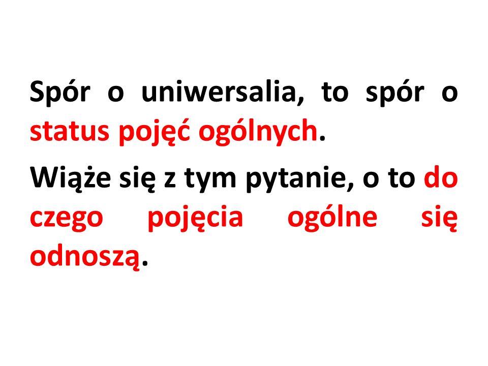 Spór o uniwersalia, to spór o status pojęć ogólnych. Wiąże się z tym pytanie, o to do czego pojęcia ogólne się odnoszą.