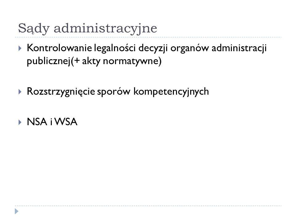 Sądy administracyjne Kontrolowanie legalności decyzji organów administracji publicznej(+ akty normatywne) Rozstrzygnięcie sporów kompetencyjnych NSA i