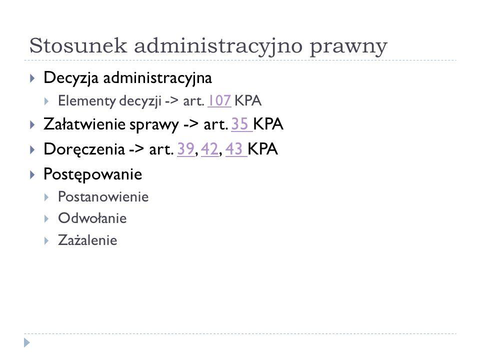 Stosunek administracyjno prawny Decyzja administracyjna Elementy decyzji -> art. 107 KPA107 Załatwienie sprawy -> art. 35 KPA35 Doręczenia -> art. 39,