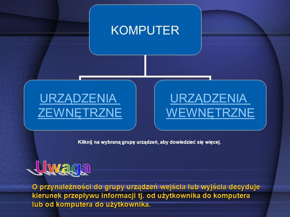 KOMPUTER URZĄDZENIA ZEWNĘTRZNE URZĄDZENIA WEWNĘTRZNE Kliknij na wybraną grupę urządzeń, aby dowiedzieć się więcej. O przynależności do grupy urządzeń