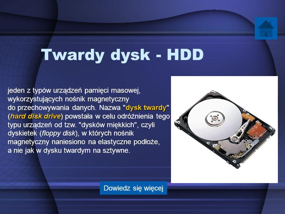 Twardy dysk - HDD jeden z typów urządzeń pamięci masowej, wykorzystujących nośnik magnetyczny dysk twardy do przechowywania danych. Nazwa