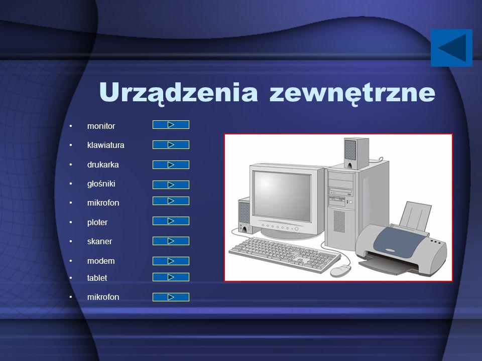 Urządzenia zewnętrzne monitor klawiatura drukarka głośniki mikrofon ploter skaner modem tablet mikrofon