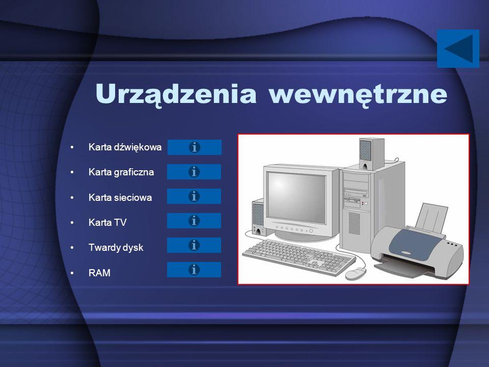 Urządzenia wewnętrzne Karta dźwiękowa Karta graficzna Karta sieciowa Karta TV Twardy dysk RAM