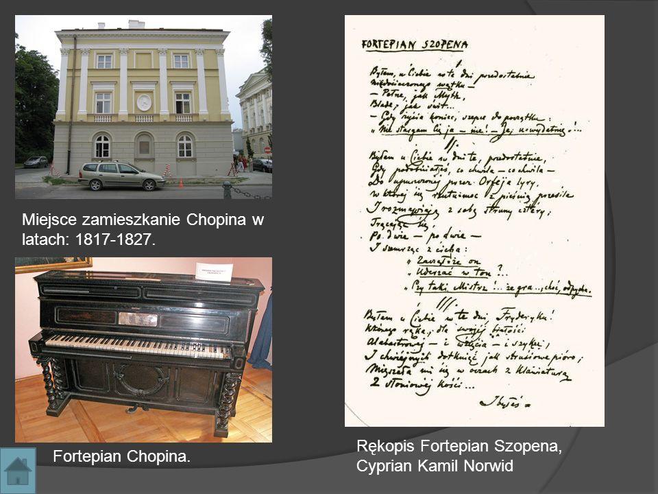 Miejsce zamieszkanie Chopina w latach: 1817-1827. Fortepian Chopina. Rękopis Fortepian Szopena, Cyprian Kamil Norwid