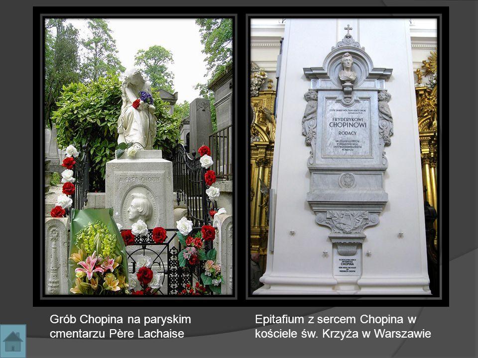 Grób Chopina na paryskim cmentarzu Père Lachaise Epitafium z sercem Chopina w kościele św. Krzyża w Warszawie