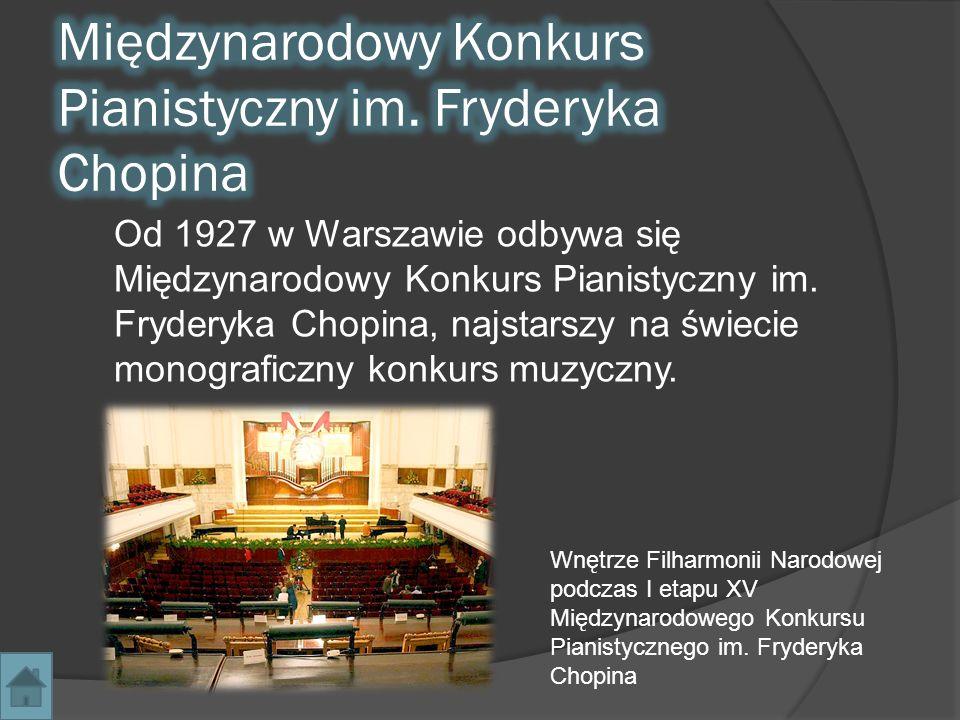 Od 1927 w Warszawie odbywa się Międzynarodowy Konkurs Pianistyczny im. Fryderyka Chopina, najstarszy na świecie monograficzny konkurs muzyczny. Wnętrz