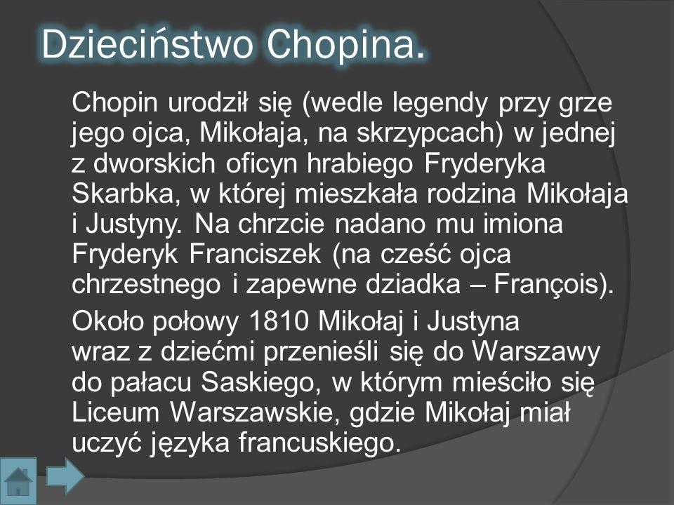 Chopin urodził się (wedle legendy przy grze jego ojca, Mikołaja, na skrzypcach) w jednej z dworskich oficyn hrabiego Fryderyka Skarbka, w której miesz
