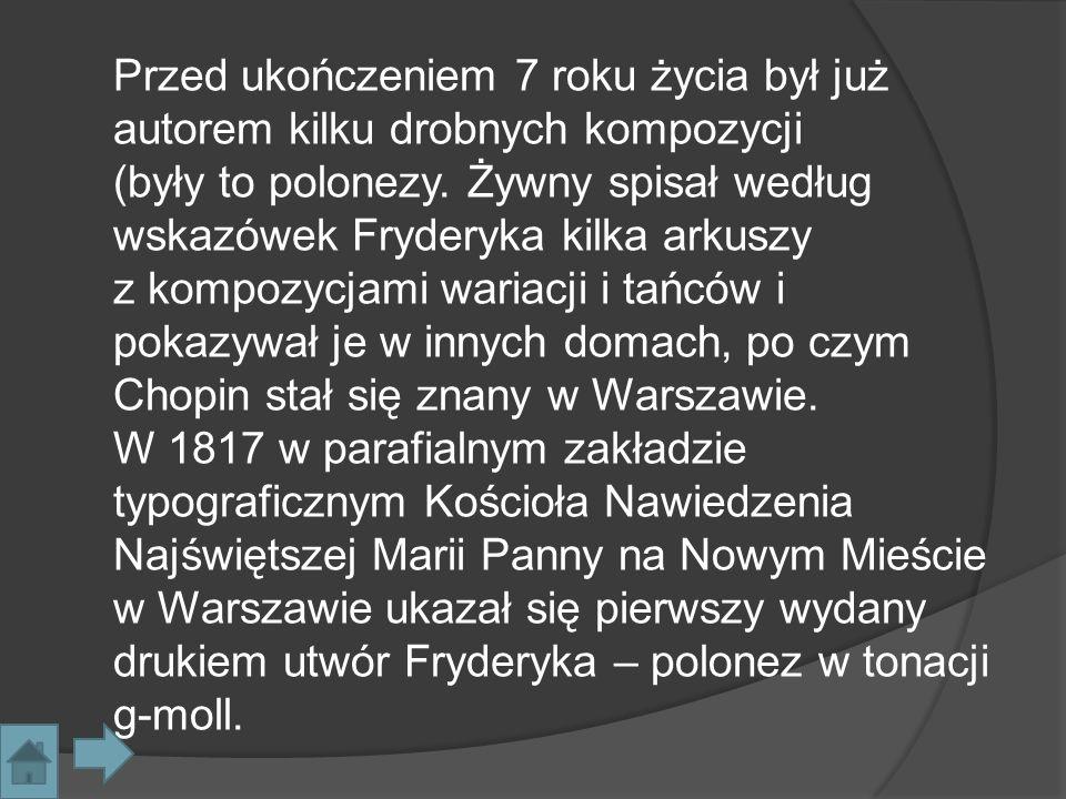 W styczniu 1818 w tomie X Pamiętnika Warszawskiego ukazała się pierwsza dłuższa wzmianka na temat Fryderyka, opisująca go m.in.
