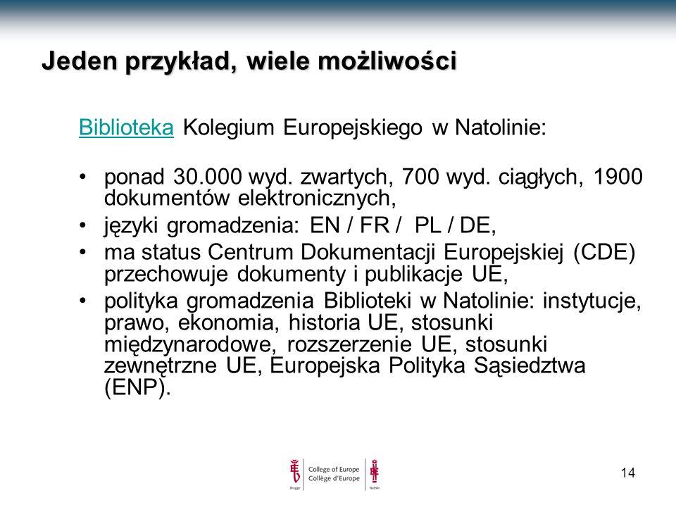 14 Jeden przykład, wiele możliwości BibliotekaBiblioteka Kolegium Europejskiego w Natolinie: ponad 30.000 wyd.