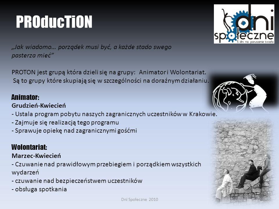 Dni Społeczne 20104 PROducTiON Jak wiadomo… porządek musi być, a każde stado swego pasterza mieć PROTON jest grupą która dzieli się na grupy: Animator i Wolontariat.