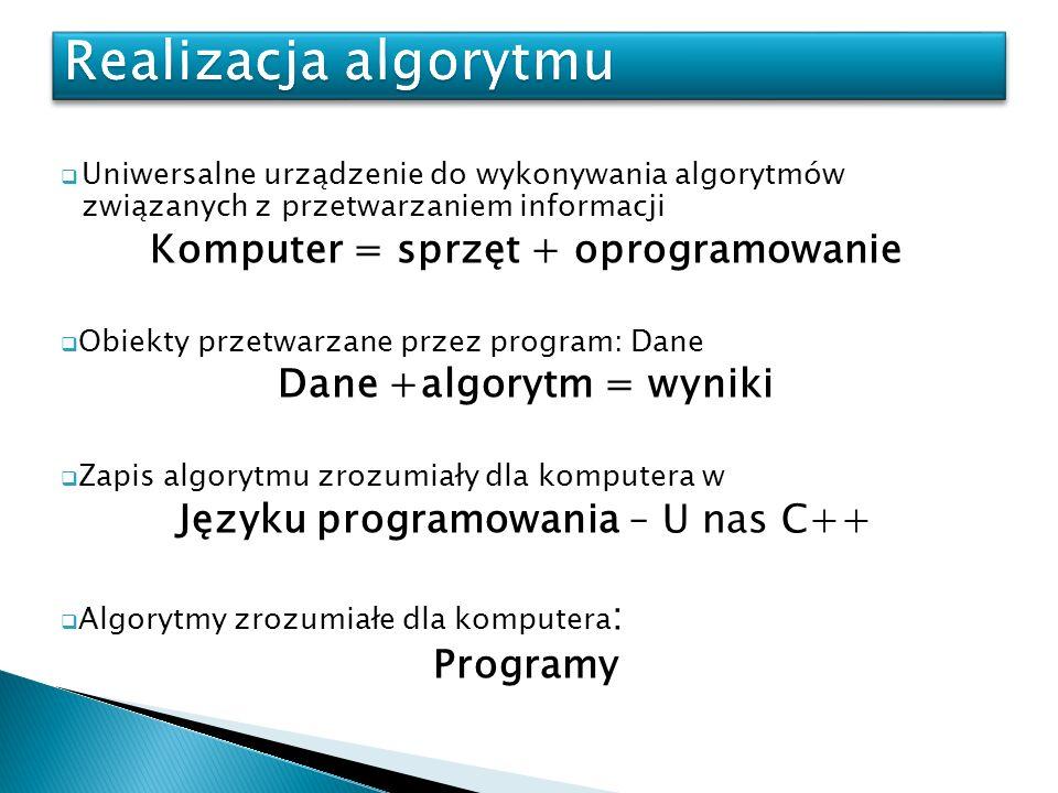 Uniwersalne urządzenie do wykonywania algorytmów związanych z przetwarzaniem informacji Komputer = sprzęt + oprogramowanie Obiekty przetwarzane przez