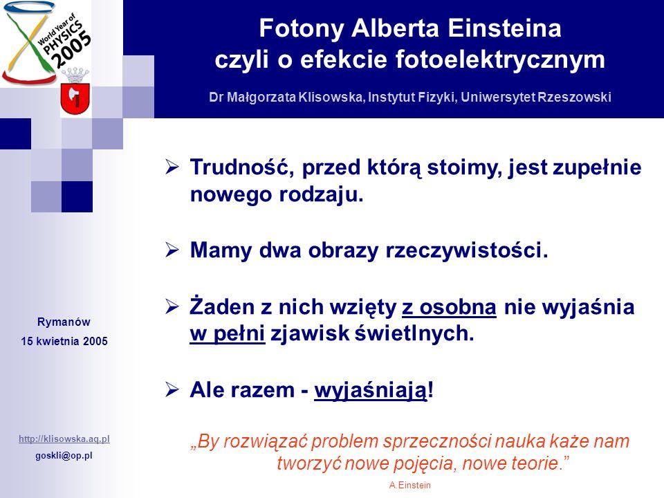 Fotony Alberta Einsteina czyli o efekcie fotoelektrycznym Dr Małgorzata Klisowska, Instytut Fizyki, Uniwersytet Rzeszowski Rymanów 15 kwietnia 2005 ht