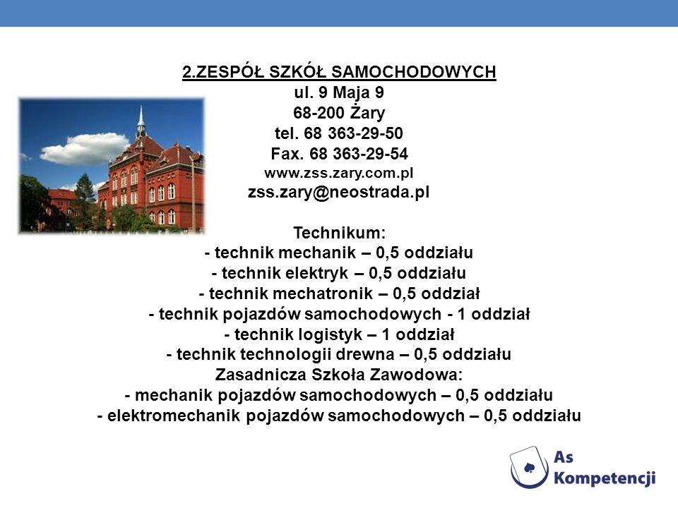 2.ZESPÓŁ SZKÓŁ SAMOCHODOWYCH ul.9 Maja 9 68-200 Żary tel.