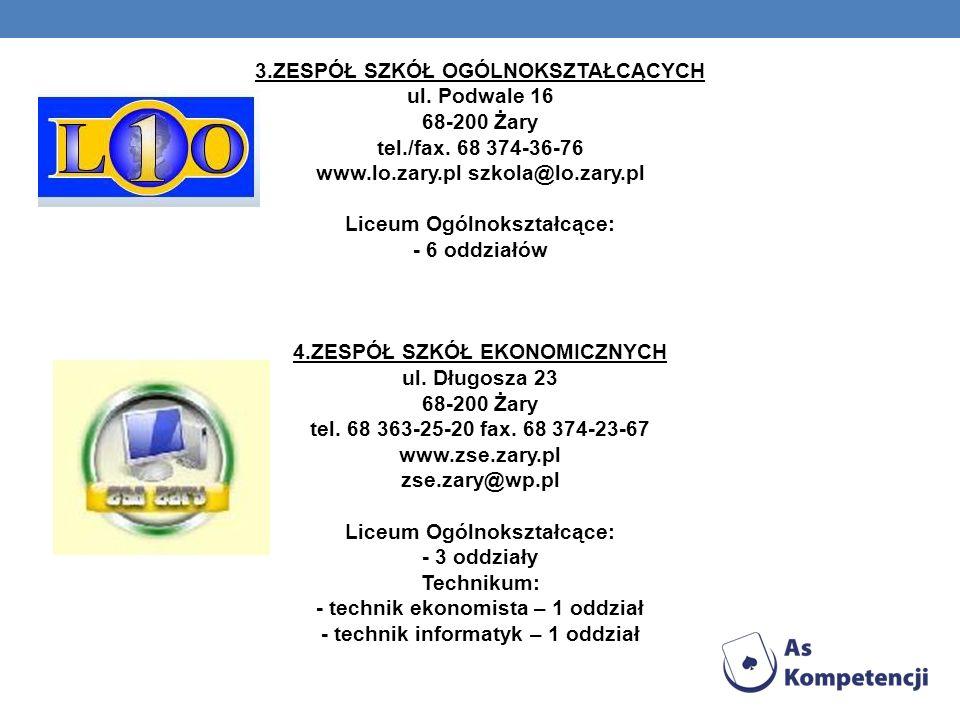 3.ZESPÓŁ SZKÓŁ OGÓLNOKSZTAŁCĄCYCH ul.Podwale 16 68-200 Żary tel./fax.