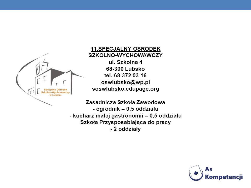 11.SPECJALNY OŚRODEK SZKOLNO-WYCHOWAWCZY ul.Szkolna 4 68-300 Lubsko tel.