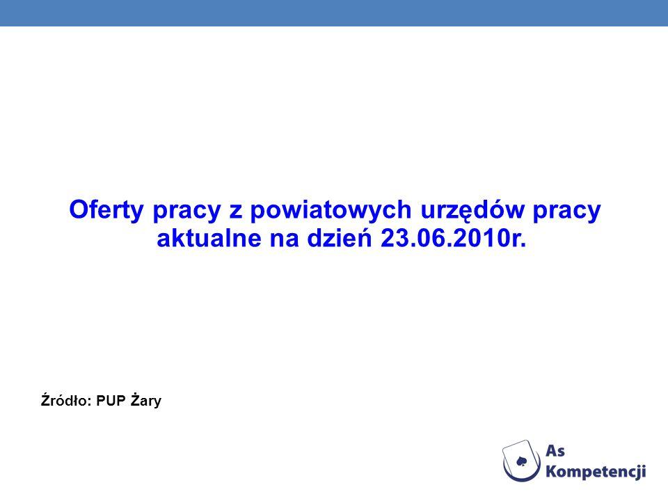 Oferty pracy z powiatowych urzędów pracy aktualne na dzień 23.06.2010r. Źródło: PUP Żary