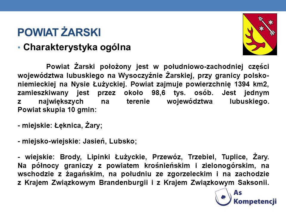 POWIAT ŻARSKI Charakterystyka ogólna Powiat Żarski położony jest w południowo-zachodniej części województwa lubuskiego na Wysoczyźnie Żarskiej, przy granicy polsko- niemieckiej na Nysie Łużyckiej.