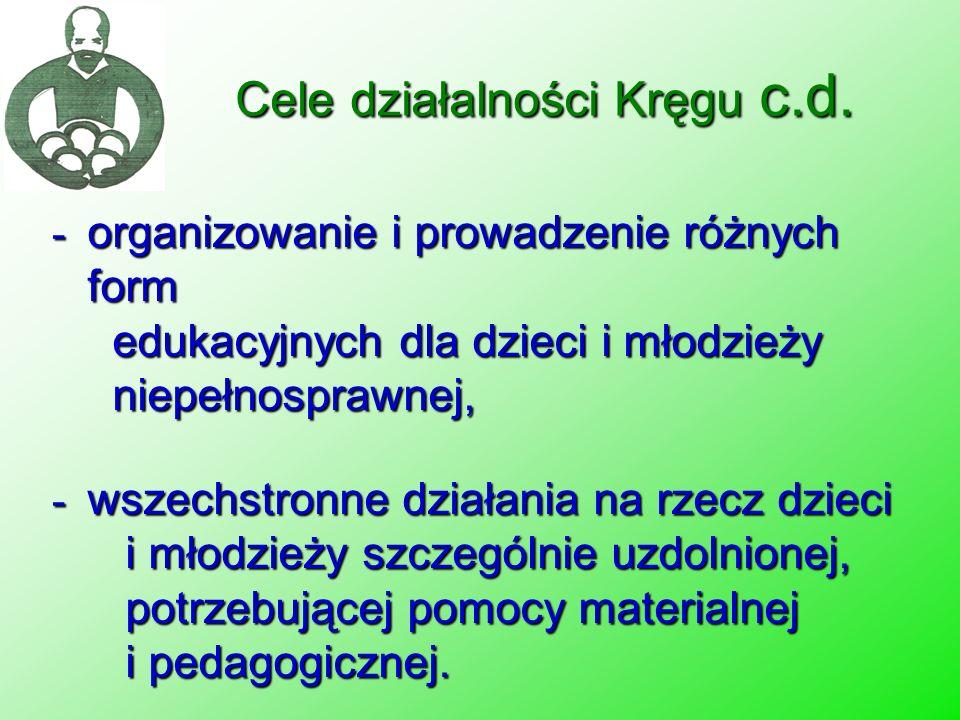Cele działalności Kręgu c.d. - organizowanie i prowadzenie różnych form edukacyjnych dla dzieci i młodzieży niepełnosprawnej, - wszechstronne działani