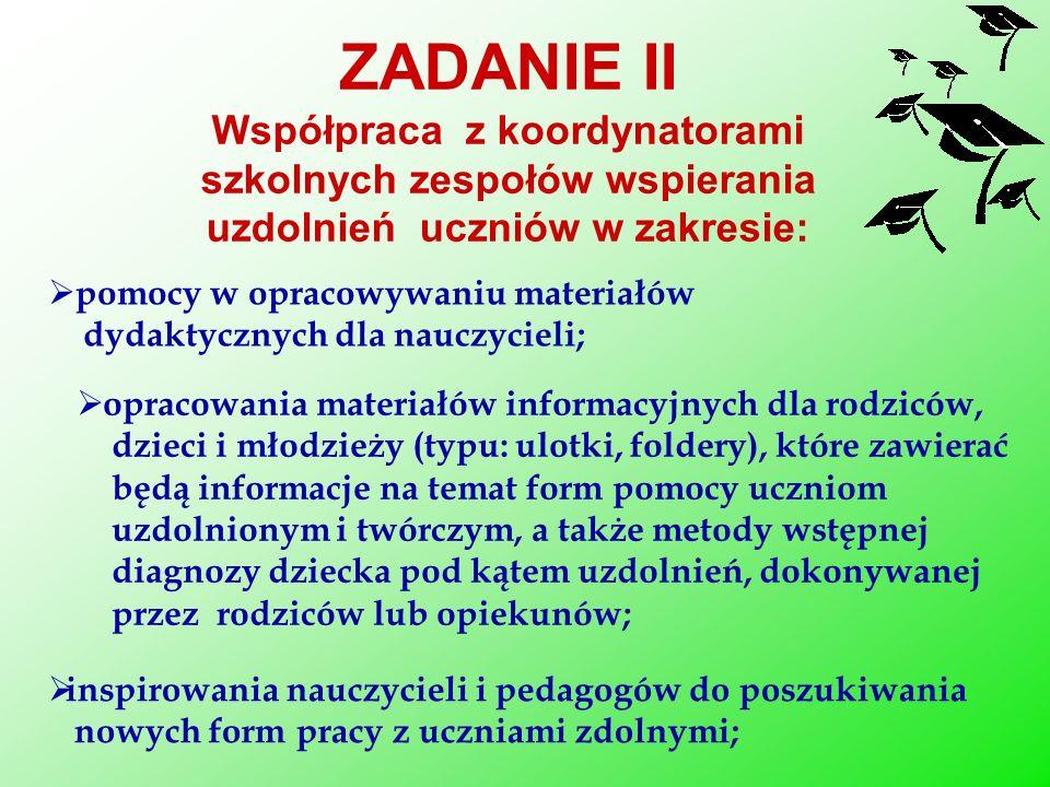 pomocy w opracowywaniu materiałów dydaktycznych dla nauczycieli; ZADANIE II Współpraca z koordynatorami szkolnych zespołów wspierania uzdolnień ucznió