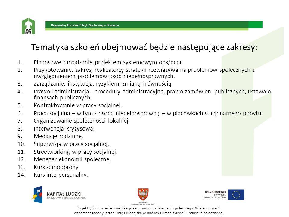 Projekt Podnoszenie kwalifikacji kadr pomocy i integracji społecznej w Wielkopolsce współfinansowany przez Unię Europejską w ramach Europejskiego Funduszu Społecznego Regionalny Ośrodek Polityki Społecznej w Poznaniu Tematyka szkoleń obejmować będzie następujące zakresy: 1.Finansowe zarządzanie projektem systemowym ops/pcpr.