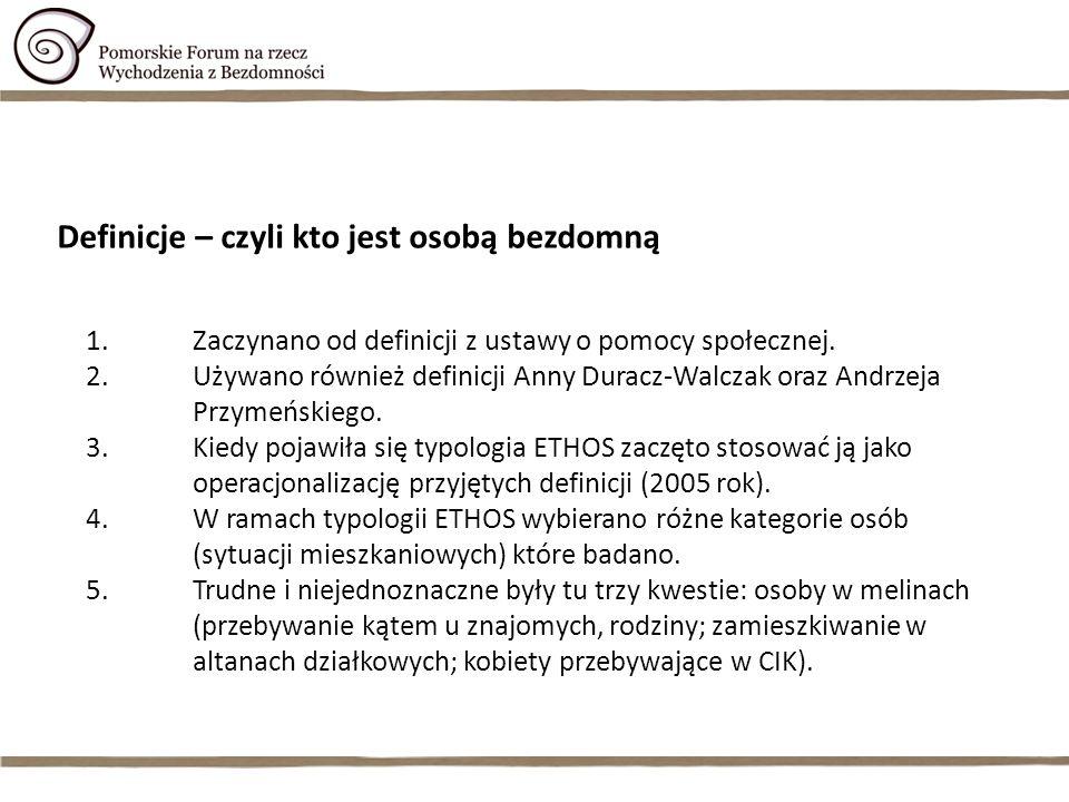 1.Zaczynano od definicji z ustawy o pomocy społecznej. 2.Używano również definicji Anny Duracz-Walczak oraz Andrzeja Przymeńskiego. 3.Kiedy pojawiła s