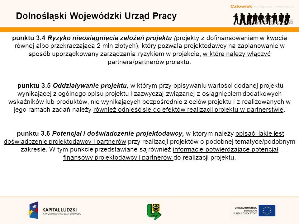 Dolnośląski Wojewódzki Urząd Pracy punktu 3.4 Ryzyko nieosiągnięcia założeń projektu (projekty z dofinansowaniem w kwocie równej albo przekraczającą 2 mln złotych), który pozwala projektodawcy na zaplanowanie w sposób uporządkowany zarządzania ryzykiem w projekcie, w które należy włączyć partnera/partnerów projektu.