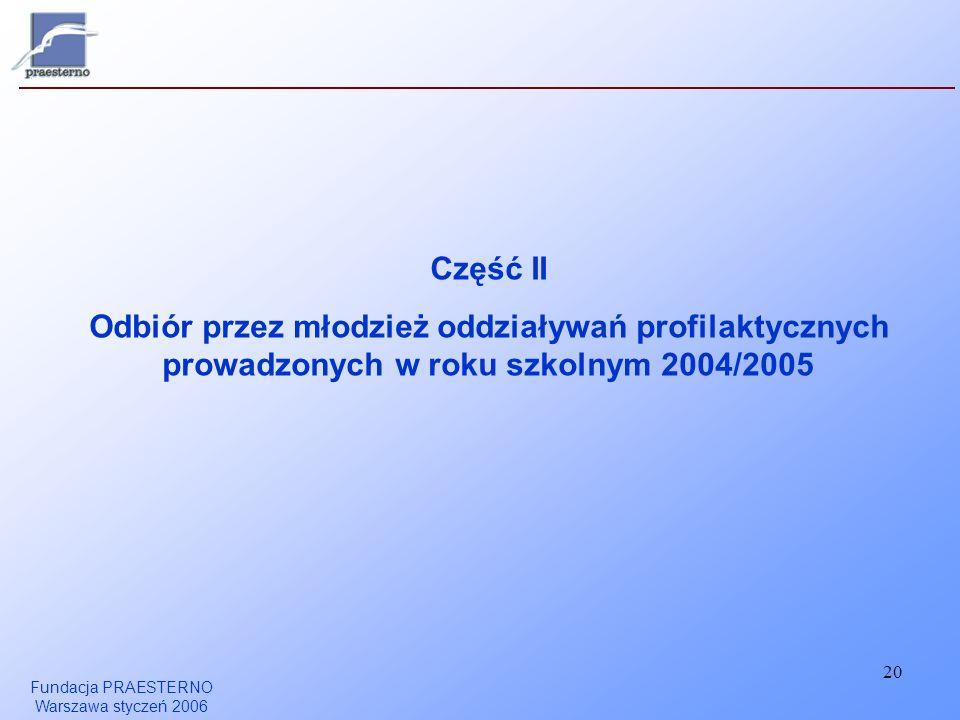 Fundacja PRAESTERNO Warszawa styczeń 2006 20 Część II Odbiór przez młodzież oddziaływań profilaktycznych prowadzonych w roku szkolnym 2004/2005