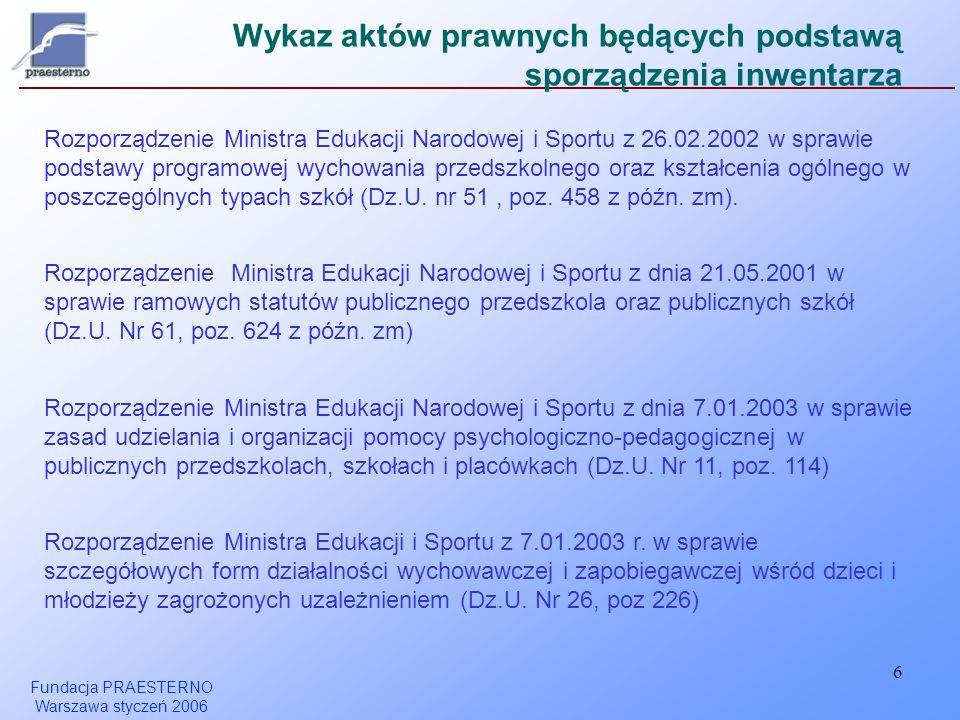 Fundacja PRAESTERNO Warszawa styczeń 2006 6 Wykaz aktów prawnych będących podstawą sporządzenia inwentarza Rozporządzenie Ministra Edukacji Narodowej