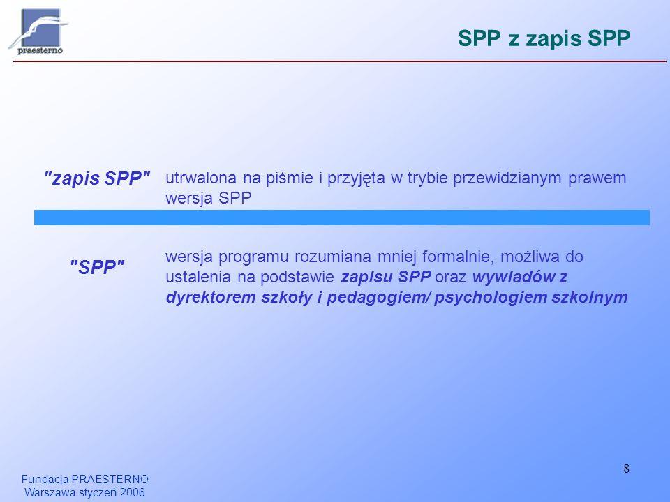 Fundacja PRAESTERNO Warszawa styczeń 2006 8 SPP z zapis SPP