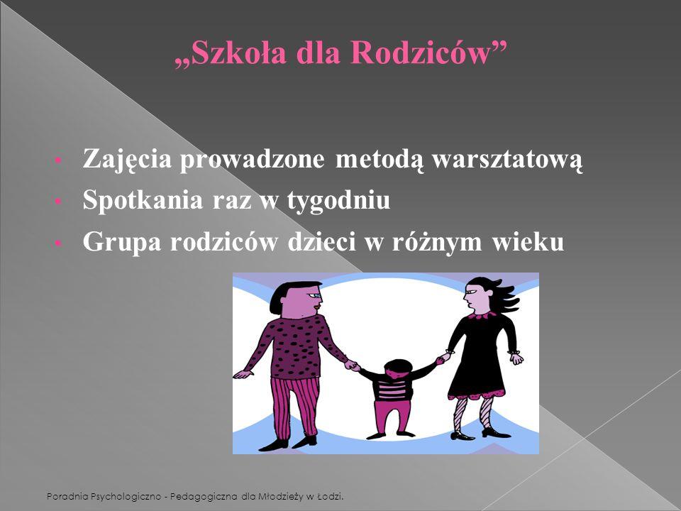 Poradnia Psychologiczno - Pedagogiczna dla Młodzieży w Łodzi. Szkoła dla Rodziców Zajęcia prowadzone metodą warsztatową Spotkania raz w tygodniu Grupa