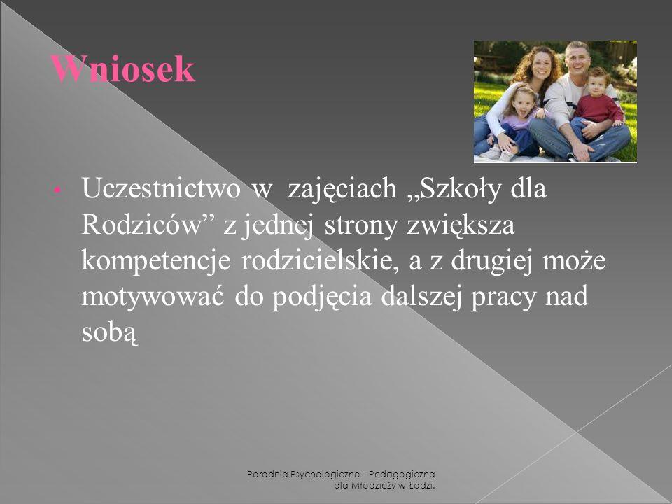 Poradnia Psychologiczno - Pedagogiczna dla Młodzieży w Łodzi. Wniosek Uczestnictwo w zajęciach Szkoły dla Rodziców z jednej strony zwiększa kompetencj