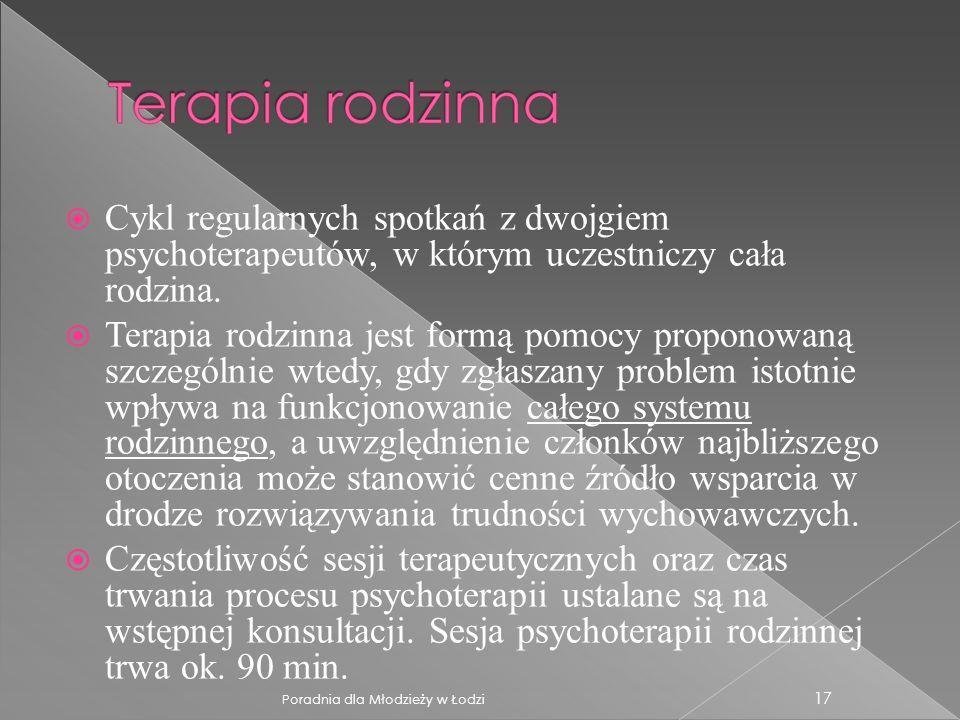 Cykl regularnych spotkań z dwojgiem psychoterapeutów, w którym uczestniczy cała rodzina. Terapia rodzinna jest formą pomocy proponowaną szczególnie wt