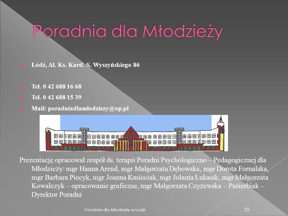 Łódź, Al. Ks. Kard. S. Wyszyńskiego 86 Tel. 0 42 688 16 68 Tel. 0 42 688 15 39 Mail: poradniadlamlodziezy@op.pl Prezentację opracował zespół ds. terap