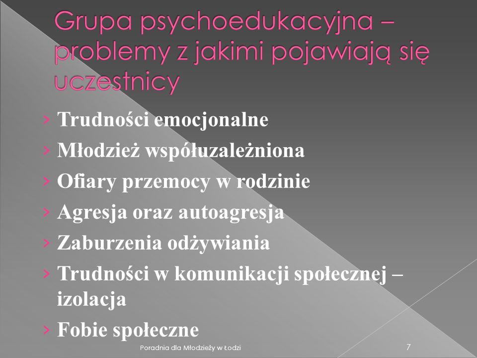 7 Trudności emocjonalne Młodzież współuzależniona Ofiary przemocy w rodzinie Agresja oraz autoagresja Zaburzenia odżywiania Trudności w komunikacji sp
